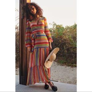 FARM Rio Anthropologie Luana Rainbow Maxi Dress